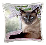 3dRose Siamese cat on Tablecloth with Lilacs - NA02 PWO0102 - PiperAnne Worcester