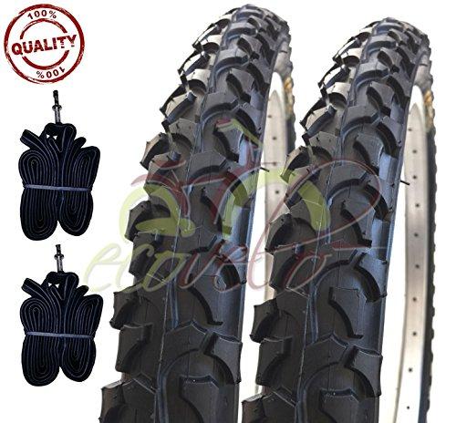 Ecovelò 2 COPERTONI E + 2 CAMERE d'Aria per MTB Bici Bicicletta Nero 26 X 1.95 (54-559)