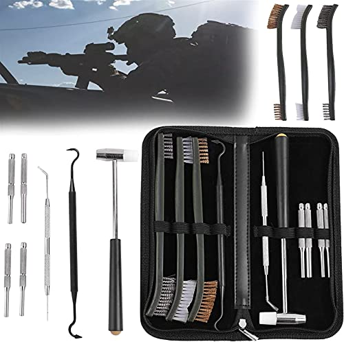 wsbdking Kit di Pulizia da Caccia, 10 Pezzi, con spazzole Doppio-End 3 Pezzi e ago in Acciaio Inox, Kit di Pulizia per Pistola e Kit di Manutenzione Strumento Professionale