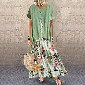 Robe grande taille pour femme - Imprimé floral - Manches courtes - Col rond - Ourlet plissé - Style décontracté - Pour plage, fête -  Vert -  4XL