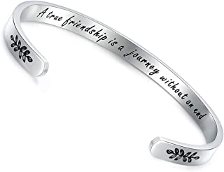 CERSLIMO Friendship Gifts for Women Personalized Best Friend Bracelets Inspirational Encouragement Cuff Bangle Graduation Valentines Gifts for Her