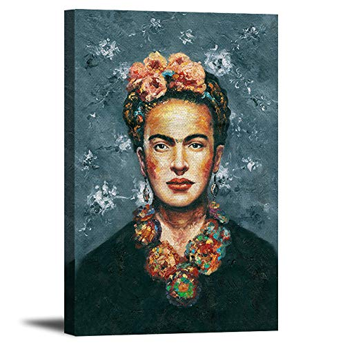 Cuadro artístico de Frida Kahlo – Lienzo de lino impreso retrato artístico estirado y enmarcado listo para colgar para decoración...