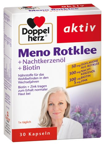 Doppelherz Meno Rotklee + Nachtkerzenöl+Biotin, 3er Pack (3 x 30 Kapseln)