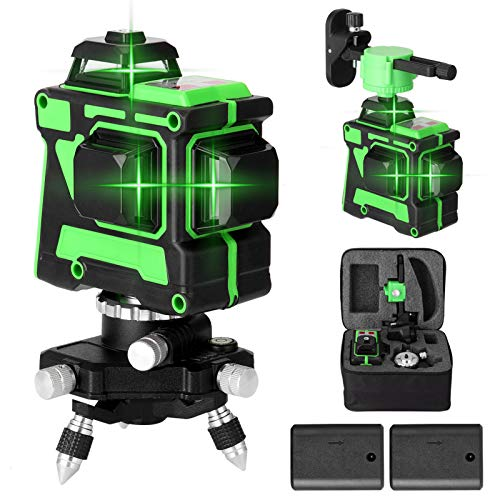 Kecheer Nivel laser autonivelante 12 líneas,Nivelador laser de 360 grados,Niveles láser verde línea,con función de autonivelación.2 Baterías