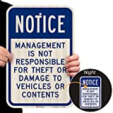 SmartSign - K-8583-HI-12x18 'Notice - Management Is Not Responsible For Theft Or Damage To Vehicles' Sign | 12' x 18' 3M High Intensity Grade Reflective Aluminum