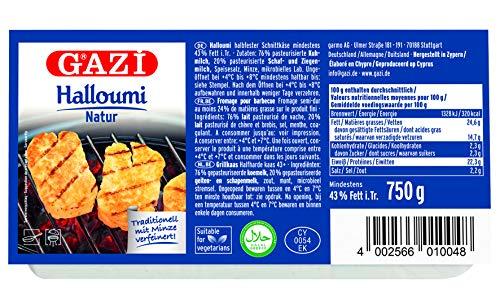 Gazi Halloumi Natur - 6x 750g - halbfester Schnittkäse, traditionell mit Minze verfeinert, Pfannen-Käse Grill-Käse Ofen-Käse 43% Fett i.Tr. Halal vegetarisch glutenfrei
