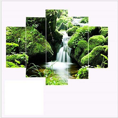 Pintura Decorativa Moderna Paisaje De Árboles Verdes En Cascada Impresión En Lienzo...