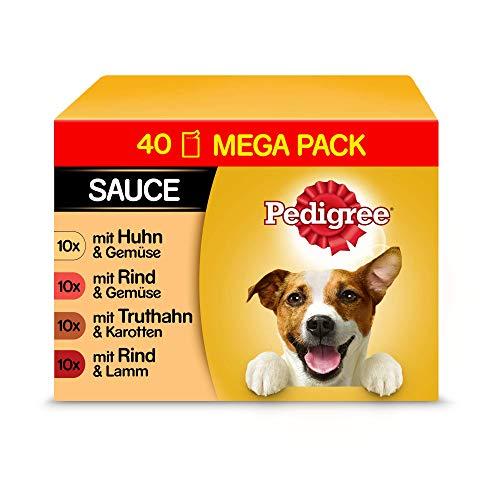 Pedigree Vital Protection Hundenassfutter im Beutel – Hundefutter in Sauce mit Huhn, Rind, Geflügel & Lamm – 40 x 100g Großpackung