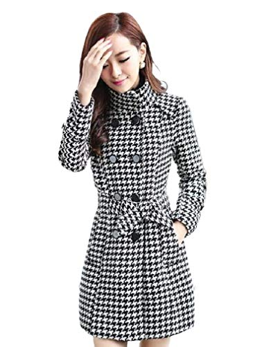 Losait Womens Plus Size Bow Double Button Trench Houndstooth Plaid Pea Coat Grey 3XL