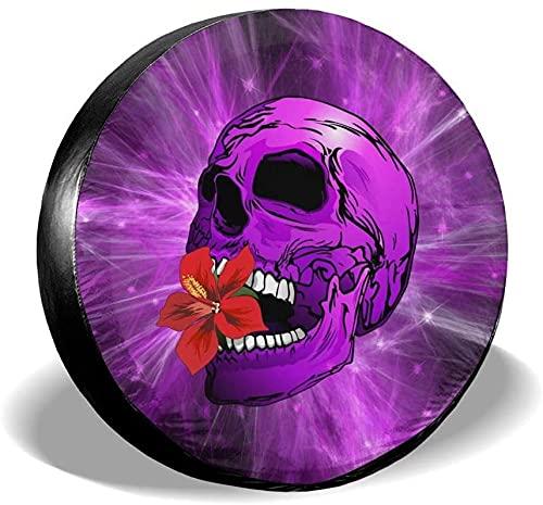 Purple Sugar Skull con cubierta de neumático de repuesto de flores,poliéster,universal,16 pulgadas,cubierta de neumático de repuesto para remolque,RV,SUV,camión,camión,camper,accesorios de remolque d
