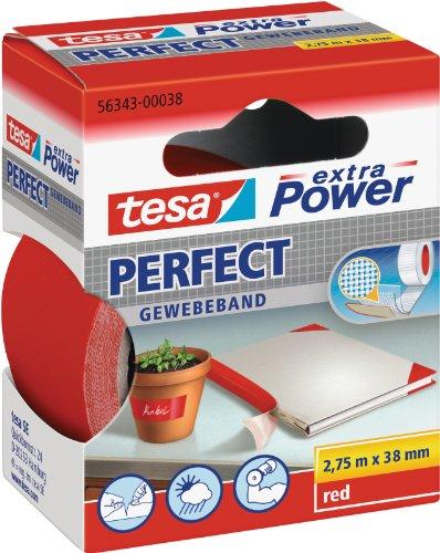 tesa extra Power Perfect Gewebeband - Gewebeverstärktes Ductape zum Basteln, Reparieren, Befestigen, Verstärken und Beschriften - Rot - 2,75 m x 38 mm