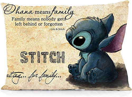 Marrine Stitch Ohana Means Family Pillowcase Both Sides Print Zipper Throw Pillows Covers 20x30 Inches