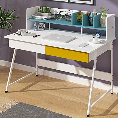 BAKAJI Scrivania con Mensola Libreria 4 Scomparti e 2 Cassetti Tavolo Porta PC Computer in Metallo e Legno Design Moderno Dimensione 100 x 45 x 102 cm Arredamento Casa Ufficio Colore Bianco