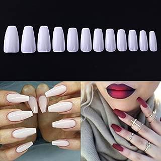 NICOLE DIARY 600Pcs Coffin Nails Long Ballerina Fake Nail Tips Fashion Full Coverage Acrylic False Nails with Box Natural Color