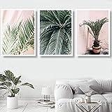 Impresión en HD pintura de lienzo nórdico árbol tropical verde hoja de monstera palma plátano imagen rosa sala de estar decoración del hogar 3x60x80cm sin marco