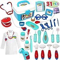 JOYIN 31 Stück Arztkoffer Kinder Arzt Spielzeug Kinderarztkoffer, Medizinisches Spielzeug für Doktor Zahnarzt Rollenspiele
