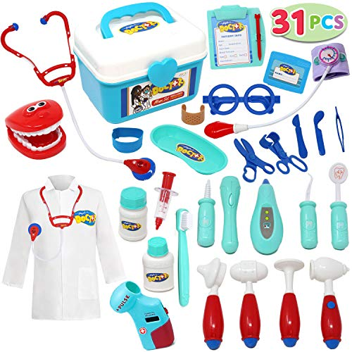 JOYIN 31Pcs Kids Doctor Playset, Pretend Doctor Kit Dentist Medical Kit with Electronic Stethoscope and Coat, Toddler Doctor Roleplay Costume Dress-Up, Kids Easter Gifts