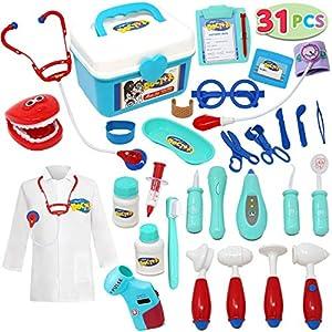 JOYIN 31pcs Maletín Medicos Juguetes Disfraz de Enfermería Clínica Dental Cosplay Kit Enfermera Accesorios con Sonido para Infantil
