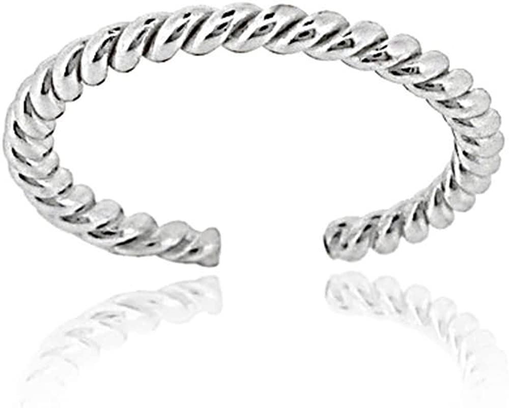 Hoops Loops Sterling At the price of surprise Silver Design Ring Rope Time sale Toe