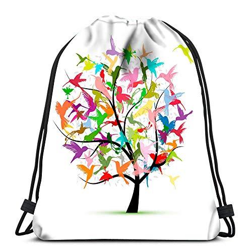 Bapa Drawstring Bag Kolibri-Baum-Skizze für Ihr Design