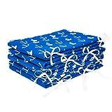 Amilian® Bettumrandung Nest Kopfschutz Nestchen 420x30cm, 360x30cm, 180x30 cm Bettnestchen Baby Kantenschutz Bettausstattung Anker groß blau (420x30cm)