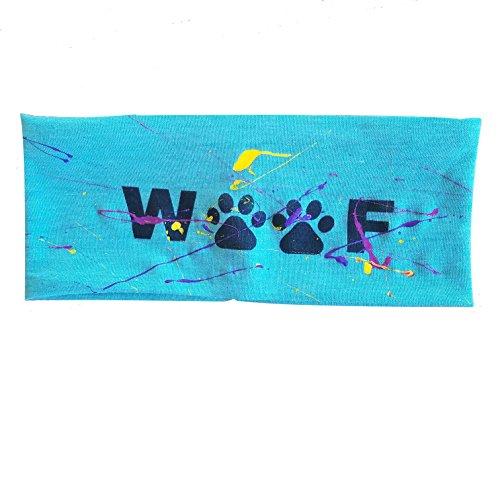"Teal ""Woof"" Messy Paw Print Headband"