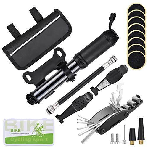 Oziral Kit Riparazione per Bic, Kit Bicicletta Riparazione 120 PSI Pompa con 16 in 1 attrezzo Multifunzione da Bici per Ciclismo/MTB/Bici Compatibile Valvole Presta