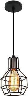 Mengjay E27 Retro Industrielle Plafonnier en Métal Noir Cage, Suspension Lustres,suspensio Lampes, Luminaires intérieur in...