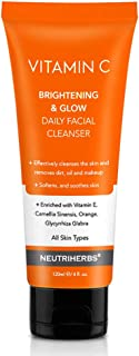 Neutriherbs Vitamin C Facial Cleanser Face Wash-Exfoliating Gel - Removing Dirt Oil and Makeup - Brightening Softening Smoothing Skin 120ml e/ 4 fl. oz.