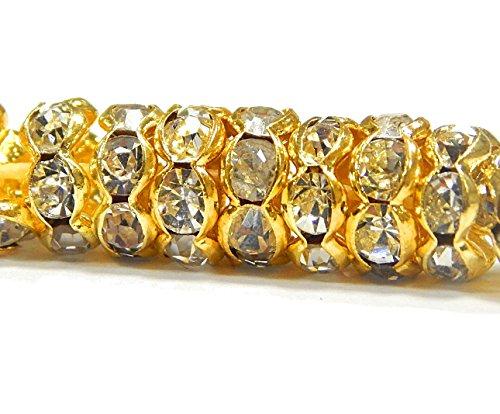 Juego de 50 perlas de cristal de 8 mm, ondulado, latón, chapadas en oro con piedras brillantes R35