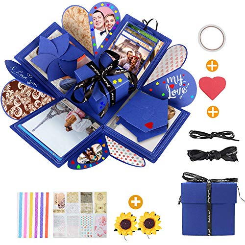 Caja de explosión sorpresa, caja creativa para manualidades, álbum fotos, cumpleaños, aniversario, San Valentín, boda, regalo, foto regalo amigos, madre, niña, hombre (D)