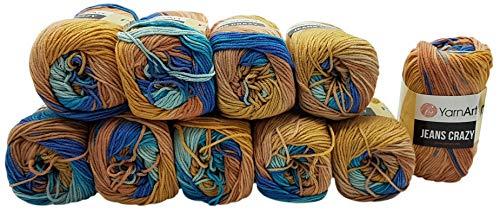 Ilkadim 10 x 50g Strickwolle YarnArt Jeans Crazy mit 55% Baumwolle, 500 Gramm Wolle mit Farbverlauf Mehrfarbig (braun blau türkis 8207)