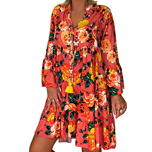 IMJONO Vetement Femme Pas Cher Robe Femme Grande Taille en Vrac Impression Casual Robe Manches Longues Robe de Soirée Élégante Robe Automne(Orange,XXXL