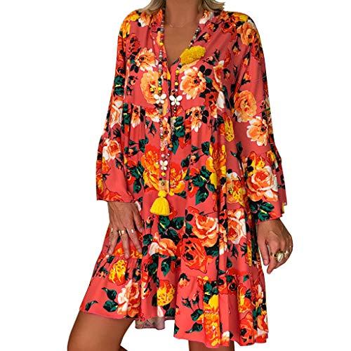 Xmiral Maxi Vestito Irregolare da Donna Abiti a Manica Lunga Irregolare con Stampa Floreale e Spalle Scoperte Vintage Boho Layer Abito Lungo (5XL,10- Arancia)