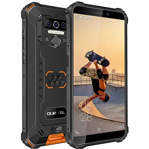 OUKITEL WP5-4G Outdoor Smartphone ohne Vertrag,5.5 Zoll 8000mAh Akku MTK6761 4GB + 32GB, IP68 Robustes Handy,Android 10.0,Triple Kamera,Gesichtserkennung (Orange)