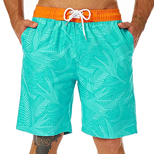 KAILUA SURF Mens Swim Trunks Long, Quick Dry Mens Boardshorts, 9 Inches Inseam Mens Bathing Suits with Mesh Lining (Blue Leaves, M)