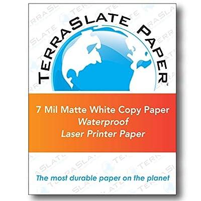 """TerraSlate Paper 7 MIL 8.5"""" x 11"""" Waterproof Laser Printer/Copy Paper"""
