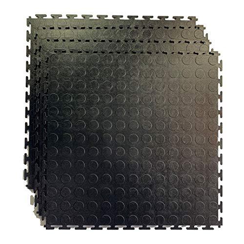 HYSA MAT Garagen Bodenfliesen Klickfliese 50 x 50 cm Noppen PVC Fliesen 4 Stück Schweiß
