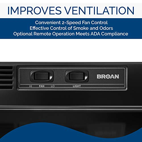 Broan-NuTone 413023 Ductless Range Hood Insert with Light, Exhaust Fan for Under Cabinet, 30-Inch, Black