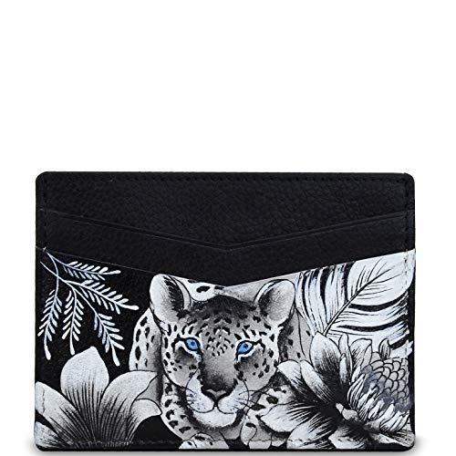 Anuschka Damen Echtleder-Kreditkartenetui   Handgemaltes Original-Artwork   Kleopatras Leopard