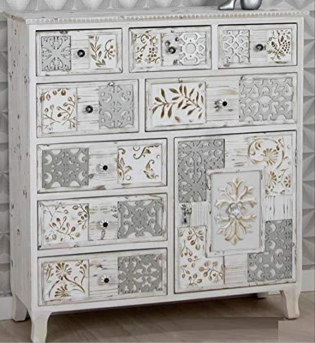Decohouse Comoda Vintage Blanco Dormitorio, aparador salón 8 cajones 1 Puesta 100x34x108cm