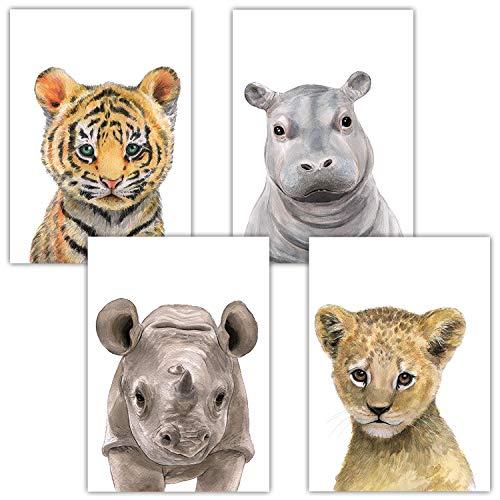 Frechdax® 4er-Set Bilder Kinderzimmer Deko Junge Mädchen - DIN A4 Poster Tiere - Wandbilder - Porträt | Waldtiere Safari Afrika Tiere Porträt (4er Set Tiger, Löwe, Nashorn, Nilpferd)