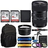 Sigma 18–35mm f1.8DC HSMレンズfor Nikon APS - C DSLRs 210306(ブラック) +バックパック+ 32GBメモリカード+ 16GBメモリカード+望遠レンズ+ UVフィルタキット+三脚+ Top値レンズアクセサリーバンドル