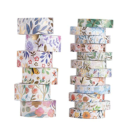 18 Rolls Washi Tape Set, 8/15mm Wide Floral Gold Masking Tape, Foil Gold Skinny Decorative Adhesive Tape for Scrapbook, Bullet Journal, Planner, DIY Arts and Crafts, Gift Wrapping (18R)