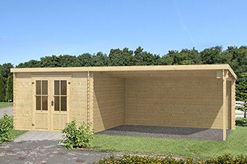 Gartenhaus G135-28 mm Blockbohlenhaus, Grundfläche: 19,88 m², Pultdach