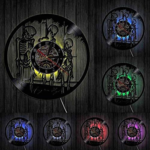 GodyGT Reloj de Pared de Vinilo Personalidad Halloween Skeletons Heights Skulls Hangman On Rope Skeletons Reloj de Pared Reloj Retro Vinilo Reloj de Tiempo de grabación Luces LED