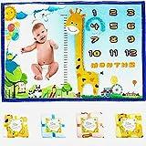 Baby Monthly Milestone Blanket Boy Girl - Premium Thick Soft Flannel Fleece Memory Baby Blankets Unisex – Giraffe Plush Photo Month Blanket for Nursery - Mom Newborn Shower Gift (Blue)