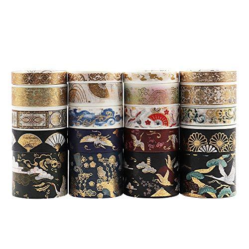 Lychii 20 Rollen Washi Tape Set, Goldene Foliendruck Masking Tapes, Multi-Pattern Dekoratives Klebeband Kollektion für Kunst und Heimwerker