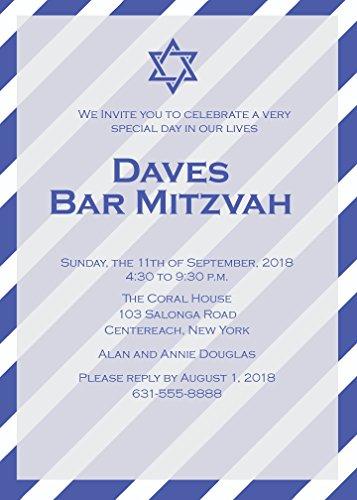 25 Custom Blue Striped Bar Mitzvah Invitations with Envelopes