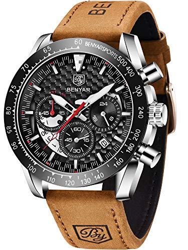 Relógio masculino analógico de quartzo com cronógrafo BENYAR à prova d'água com pulseira de couro, Silver Black